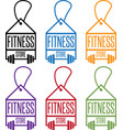 fitness store tags with barbells set vector image