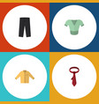 flat icon garment set of cravat banyan casual vector image vector image