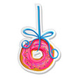 food label or sticker donut on a ribbon vector image