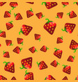 fresh strawberry fruit seamless pattern vector image vector image