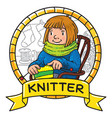 funny knitter women inthe chair emblem vector image