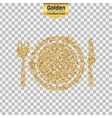Gold glitter icon of plate with knife and vector image