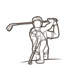 group golf players action cartoon sport vector image