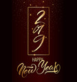 happy new year postcard with nice lettering vector image