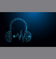headphone and sound waves form lines and particle vector image vector image