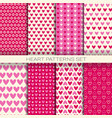 heart patterns set seamless backgrounds vector image