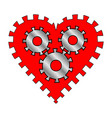 heart with gears vector image vector image