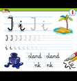 how to write letter i workbook for children vector image vector image