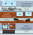 lounge loft banners collection vector image vector image