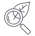 magnifier glass with leafbiology line icon vector image vector image