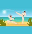 martial arts flat composition vector image