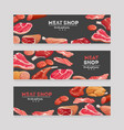 meat product banners beef and pork sausage ham vector image