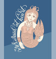 mermaid at heart - hand lettering with line art vector image vector image