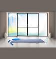 mockup empty gym hall with glass door vector image vector image