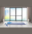 mockup of empty gym hall with glass door vector image vector image
