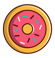 pink glazed donut icon cartoon style vector image