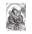 printvintage engraving portrait queen vector image