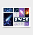 realistic space elements set vector image