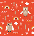 seamless christmas pattern with cute owls vector image