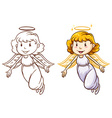 Sketches of angels in different colors vector image vector image