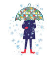 Snow storm and person with umbrella - cold weather vector image