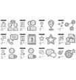 Social media line icon set vector image