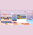 supermarket interior empty shopping retail hall vector image vector image