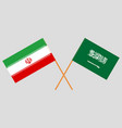 the iranian and ksa flags vector image vector image