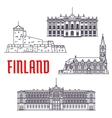 Travel landmarks of Finland and Denmark icon vector image vector image