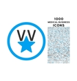 Victory Star Rounded Icon with 1000 Bonus Icons vector image vector image