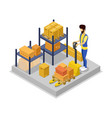 warehouse management isometric 3d icon vector image vector image