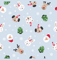 winter seamless pattern with santa and cute vector image vector image