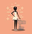 woman shopping cart retro style vector image vector image