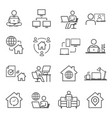 work from home icon set freelancer business vector image