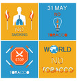 world no tobacco day set asking to atop smoking vector image vector image