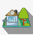 home with design next to tree vector image