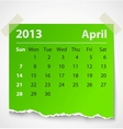 2013 calendar april colorful torn paper vector image