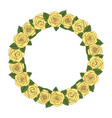 a round wreath of yellow roses vector image vector image