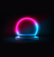 abstract neon background with pedestal vector image vector image