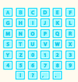 Alphabet Set letters in blue squares vector image