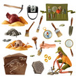archeology essential elements set vector image