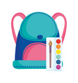 back to school education backpack and palette vector image vector image