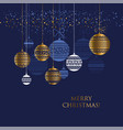 blue and gold christmas bauble pattern vector image