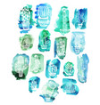 cactuses on watercolor background vector image
