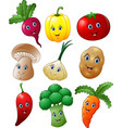 cartoon vegetables collection set vector image