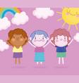 children day cartoon little boys rainbow and sun vector image vector image