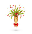 christmas composition in a waffle cone vector image vector image