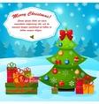 Christmas greeting or gift card with Xmas tree EPS vector image