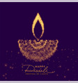 creative diwali diya made with golden particle vector image vector image