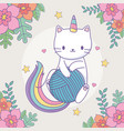 cute caticorn with floral decoration and ball of vector image vector image